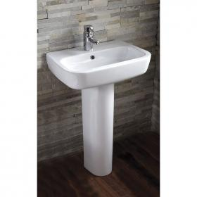 Frontline Ballini 600mm Single Tap Hole Basin and Full Pedestal