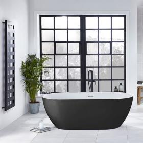 Frontline Graphite Summit Freestanding 1680 x 800mm Double Ended Bath