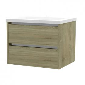 Frontline City 600mm Grey Oak 2 Drawer Wall Unit & Ceramic Basin
