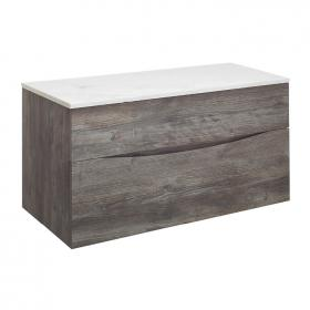 Bauhaus Glide II Driftwood 100 Unit and Carrara Marble Worktop