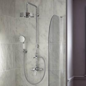 Heritage Gracechurch Exposed Shower with Deluxe Fixed Riser Kit & Diverter to Handset Chrome Finish