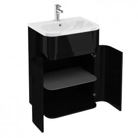 Aqua Cabinets D450 Gull Wing 600mm Black Unit & Basin