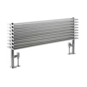 Hudson Reed Fin Horizontal Silver Double Panel Radiator