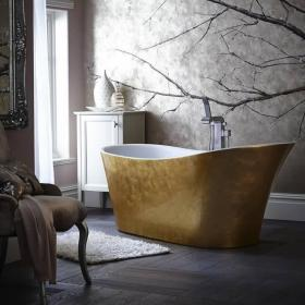 Heritage Holywell 1710mm Gold Effect Freestanding Acrylic Single Ended Bath