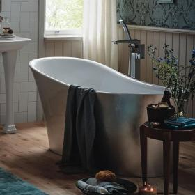 Heritage Holywell 1710mm Stainless Steel Effect Freestanding Acrylic Single Ended Bath