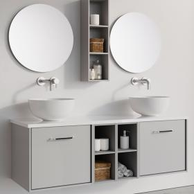 Photo of Crosswater Infinity 1400mm Storm Grey Double Drawer & Twin Base Unit