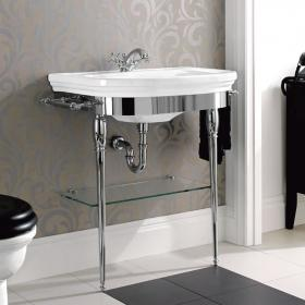 Imperial Carlyon Chrome Basin Stand with Glass Shelf