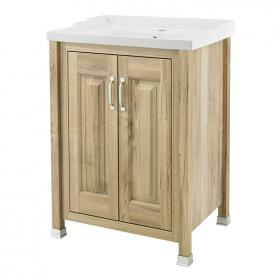 Old London Natural Walnut 600mm 2 Door Vanity Unit & Basin
