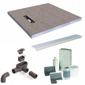 Simpsons 900mm Square Linea 30mm Shower Tray  End Drain with Install Kit