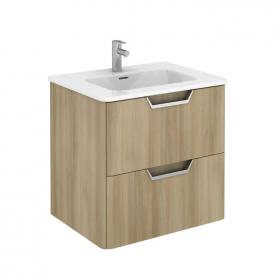 Frontline Life 600mm Nordic Oak 2 Drawer Wall Unit & Ceramic Basin