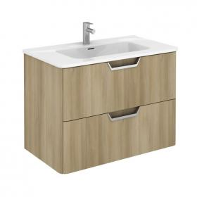 Frontline Life 800mm Nordic Oak 2 Drawer Wall Unit & Ceramic Basin