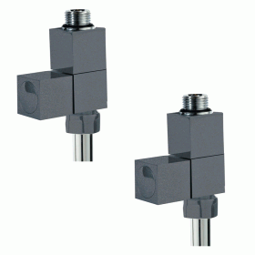 Photo of Phoenix Anthracite Square Straight Radiator Valves