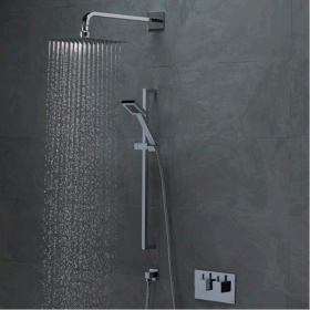 Photo of Roper Rhodes Event Square Dual Function Shower System With Stainless Steel Fixed Shower Head