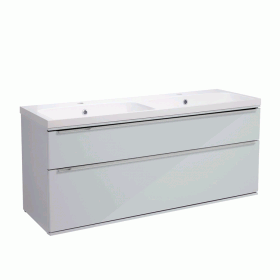 Roper Rhodes Scheme 1200mm Gloss Light Grey Wall Mounted Vanity Unit with Double Basin