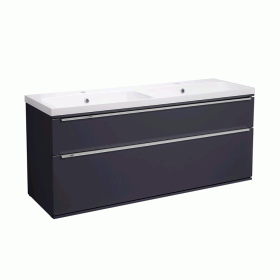 Roper Rhodes Scheme 1200mm Matt Carbon Wall Mounted Vanity Unit with Double Basin