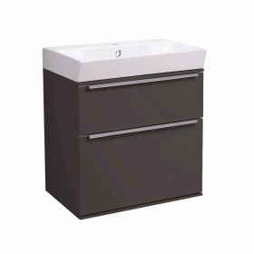 Roper Rhodes Scheme 500mm Gloss Dark Clay Wall Mounted Vanity Unit and Basin