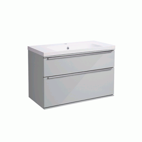 Roper Rhodes Scheme 800mm Gloss Light Grey Wall Mounted Vanity Unit and Basin