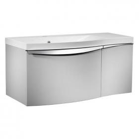 Roper Rhodes Serif Gloss Light Grey 900mm Wall Mounted Unit & Basin