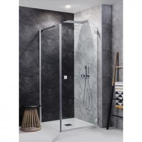 Simpsons Design Hinged Shower Door with Side Panel