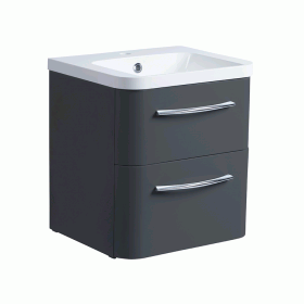 Roper Rhodes System 500mm Gloss Dark Clay Wall Mounted Vanity Unit and Basin