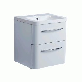 Roper Rhodes System 500mm Gloss Light Grey Wall Mounted Vanity Unit and Basin
