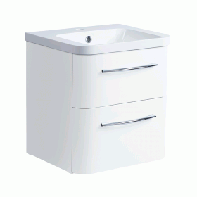 Roper Rhodes System 500mm Gloss White Wall Mounted Vanity Unit and Basin