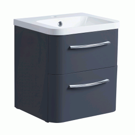 Roper Rhodes System 500mm Matt Carbon Wall Mounted Vanity Unit and Basin