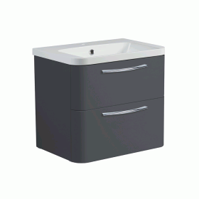 Roper Rhodes System 600mm Gloss Dark Clay Wall Mounted Vanity Unit and Basin