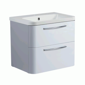 Roper Rhodes System 600mm Gloss Light Grey Wall Mounted Vanity Unit and Basin