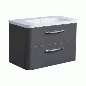Roper Rhodes System 800mm Gloss Dark Clay Wall Mounted Vanity Unit and Basin