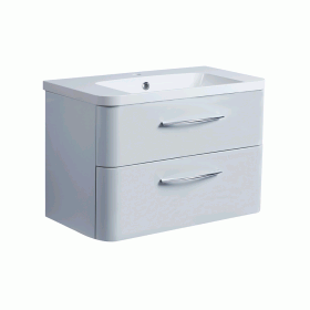 Roper Rhodes System 800mm Gloss Light Grey Wall Mounted Vanity Unit and Basin