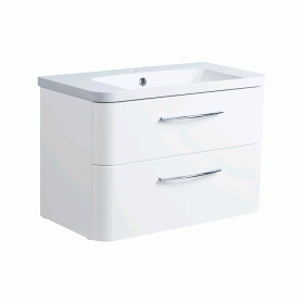 Roper Rhodes System 800mm Gloss White Wall Mounted Vanity Unit and Basin