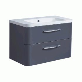 Roper Rhodes System 800mm Matt Carbon Wall Mounted Vanity Unit and Basin