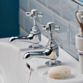 Heritage Dawlish Short Nose Basin Pillar Taps Chrome Finish
