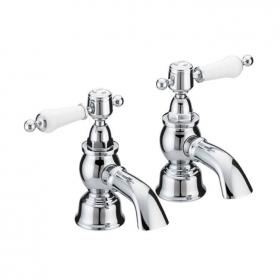 Heritage Glastonbury Bath Pillar Taps Chrome Finish