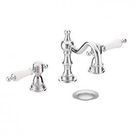 Heritage Glastonbury 3 Taphole Swivel Spout Basin Mixer Chrome Finish