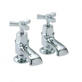 Heritage Gracechurch Bath Pillar Taps Chrome Finish