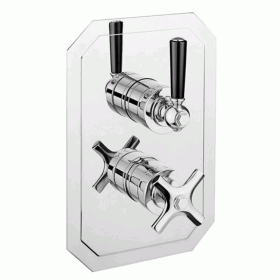 Crosswater Waldorf Black Lever 1500 Shower Valve with Two Way Diverter - Slimline