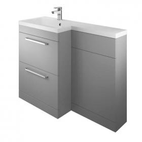 Photo of The White Space Gloss Ash Grey L Shaped Unit & Basin