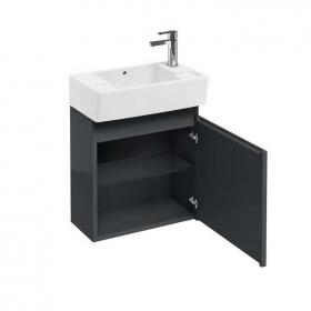Photo of Aqua Cabinets Anthracite Compact Wall Hung Cloakroom Unit & Basin