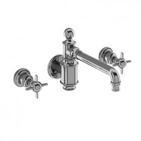 Arcade Chrome Crosshead Three Hole Wall Mounted Basin Mixer