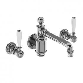 Photo of Arcade Chrome Lever Three Hole Wall Mounted Basin Mixer with Choice of Handle