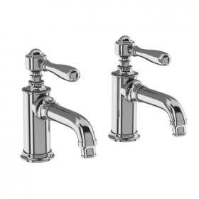 Arcade Chrome Lever Basin Pillar Taps with Choice of Handle