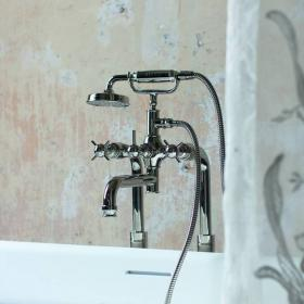 Photo of Arcade Nickel Deck Mounted Bath Shower Mixer with Handset