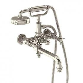 Arcade Nickel Wall Mounted Bath Shower Mixer with Handset
