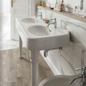 Arcade 1200mm Double Console Basin with Ceramic Legs