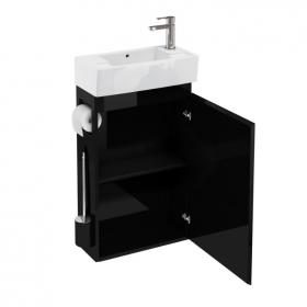Aqua Cabinets Black All In One Cloakroom Unit & Basin