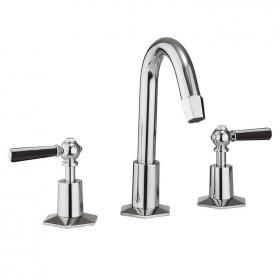 Photo of Crosswater Waldorf Black Lever Basin 3 Hole Set