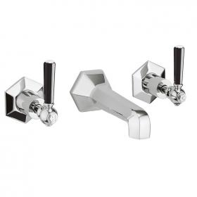 Photo of Crosswater Waldorf Black Lever Wall Mounted Basin 3 Hole Set