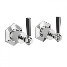 Crosswater Waldorf Black Lever Wall Stop Taps